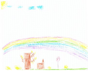 Сын нарисовал радугу!